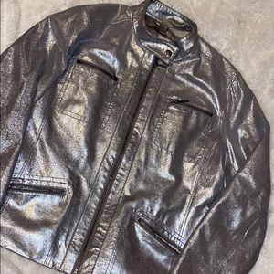 Chico's silver leather jacket
